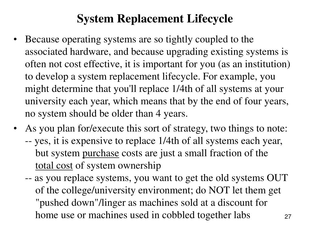 System Replacement Lifecycle