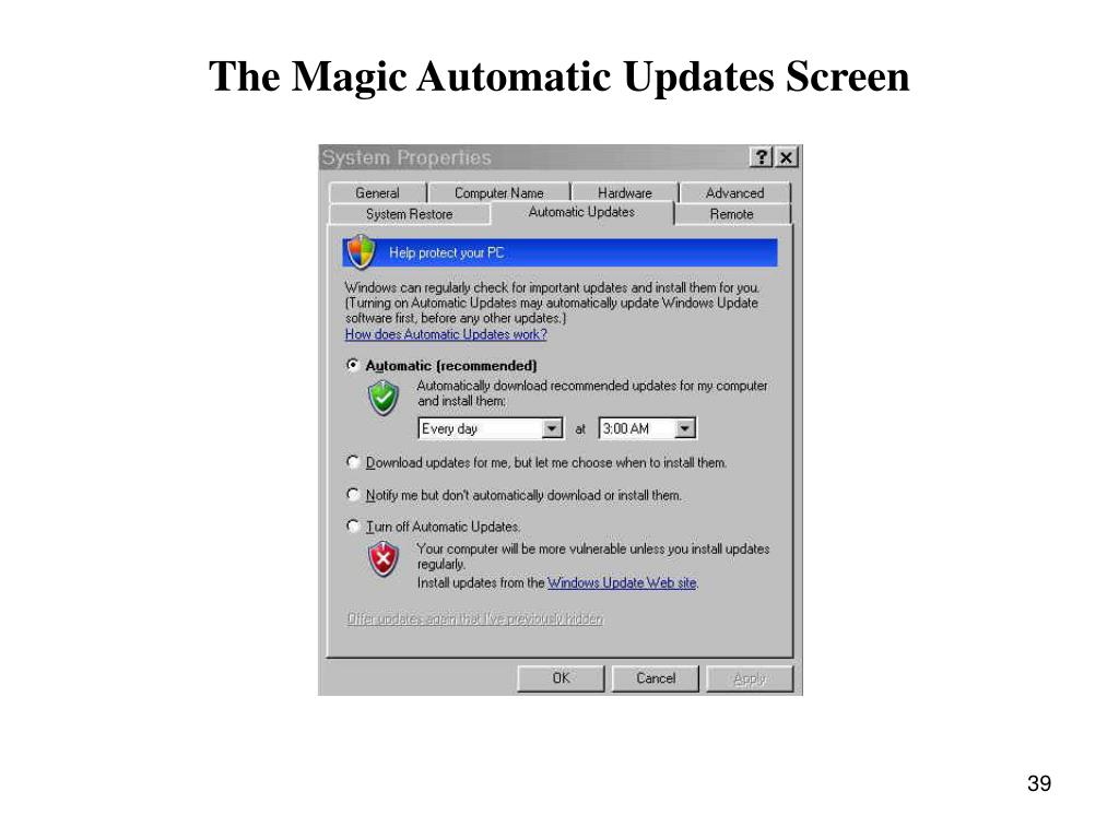 The Magic Automatic Updates Screen