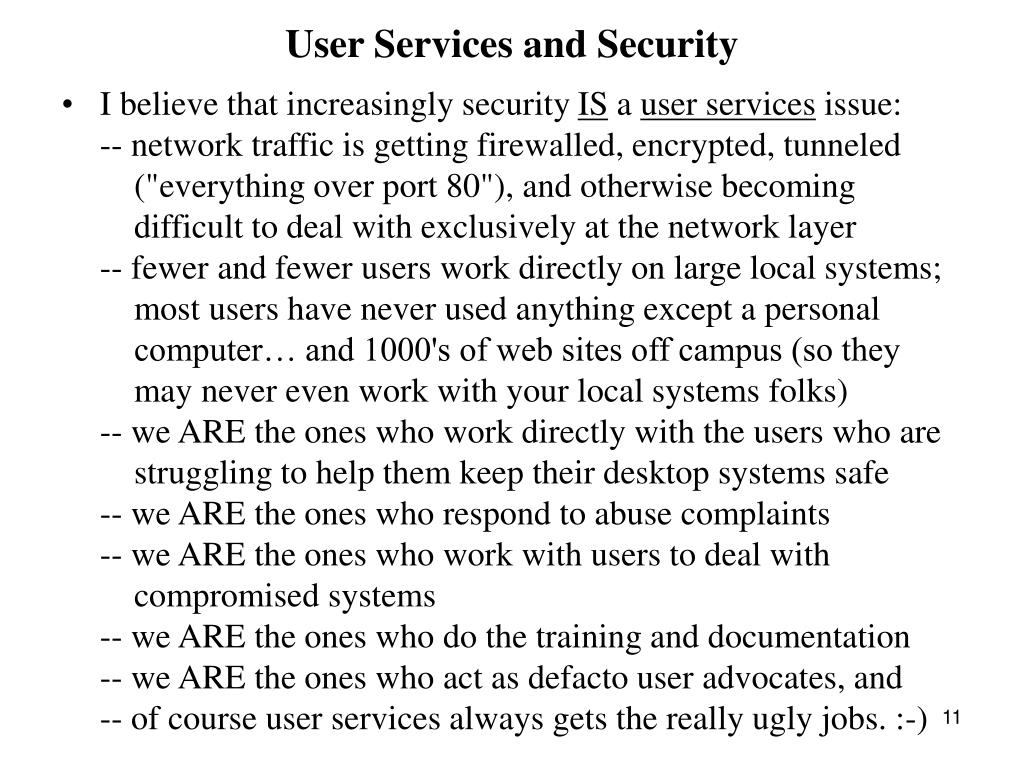 User Services and Security