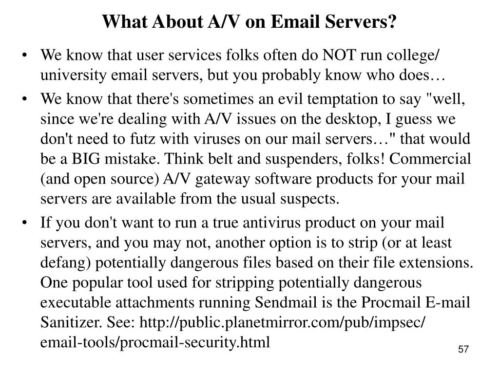 What About A/V on Email Servers?