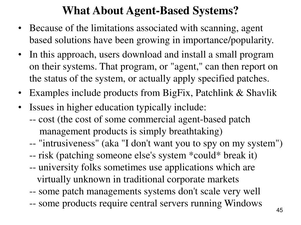 What About Agent-Based Systems?