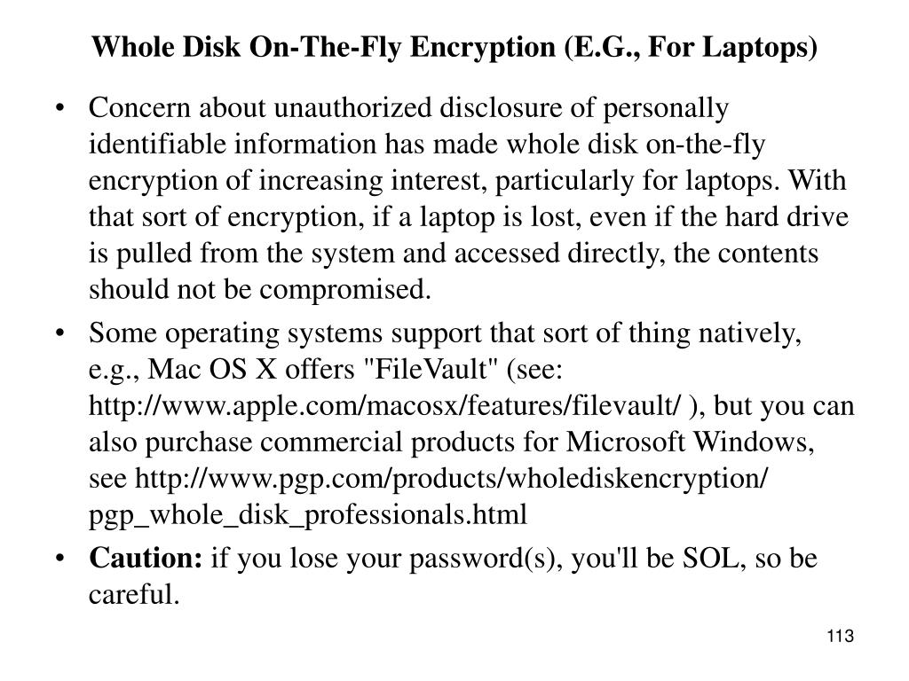 Whole Disk On-The-Fly Encryption (E.G., For Laptops)