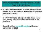 who estimates of premature death due to air pollution