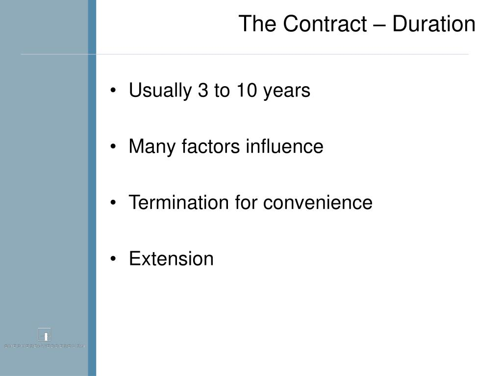 The Contract – Duration