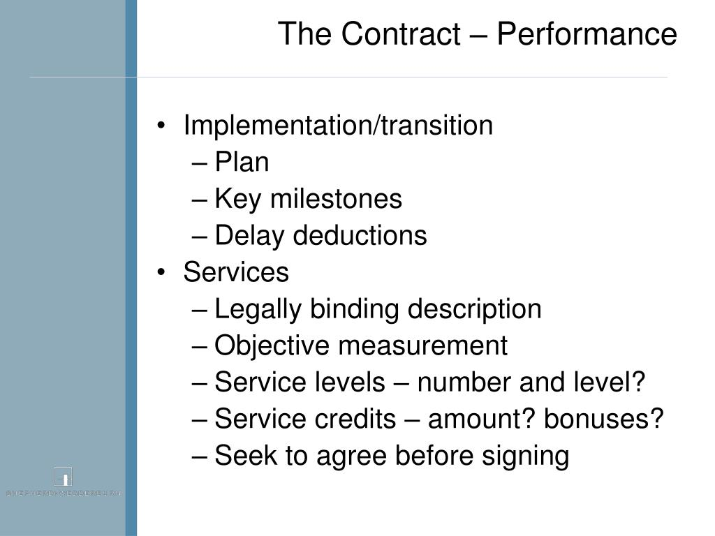 The Contract – Performance