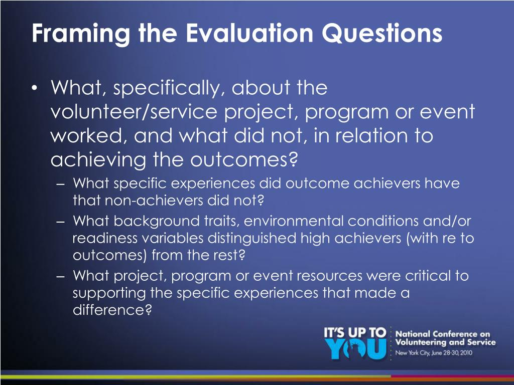 Framing the Evaluation Questions
