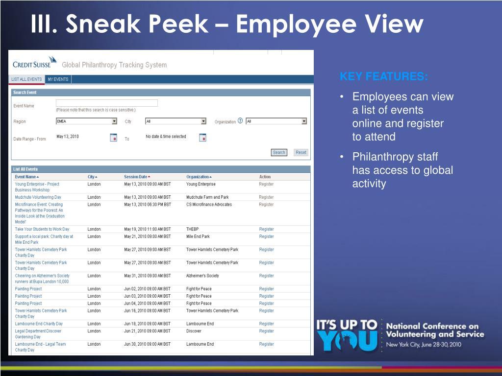 III. Sneak Peek – Employee View