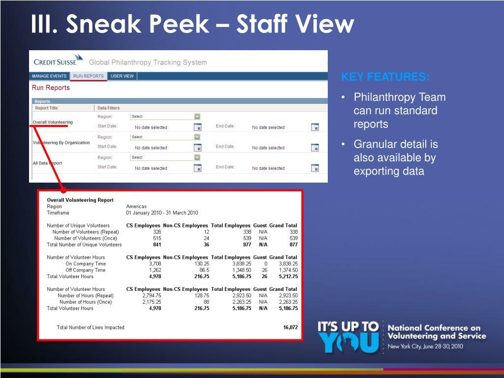 III. Sneak Peek – Staff View