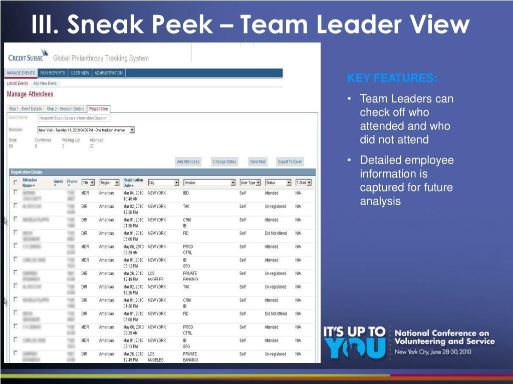 III. Sneak Peek – Team Leader View