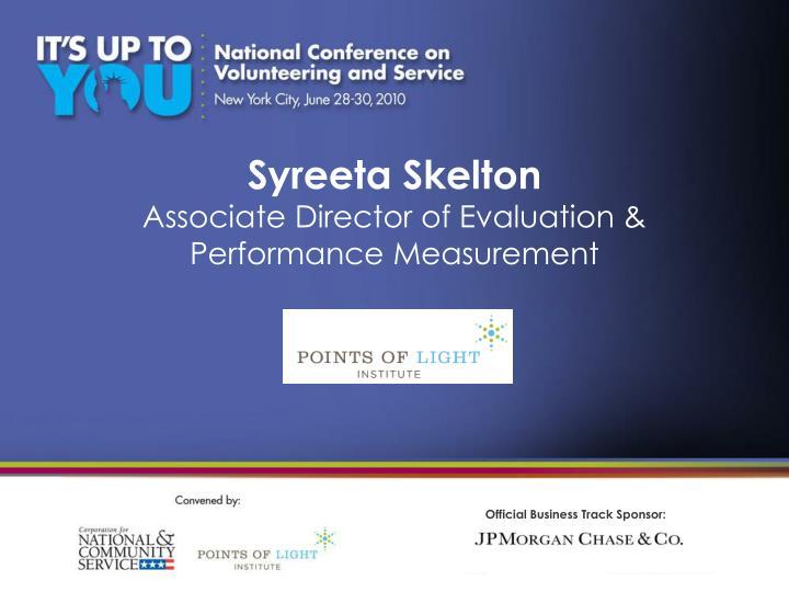 Syreeta skelton associate director of evaluation performance measurement