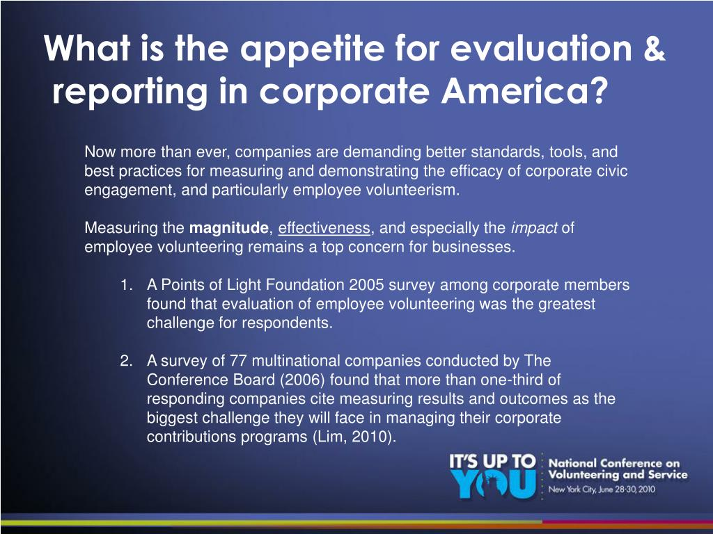 What is the appetite for evaluation &