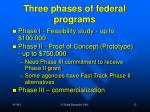 three phases of federal programs