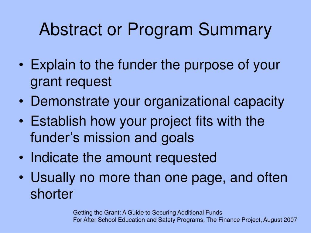 Abstract or Program Summary