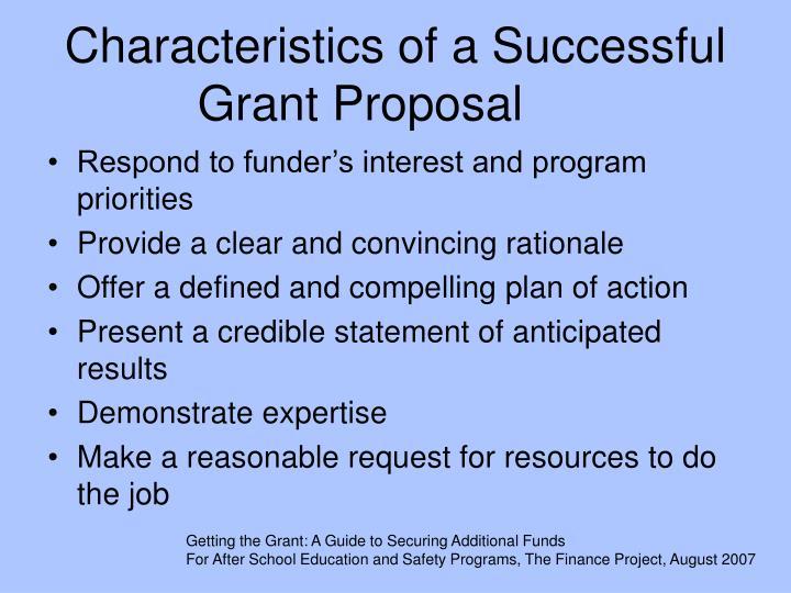 Characteristics of a successful grant proposal