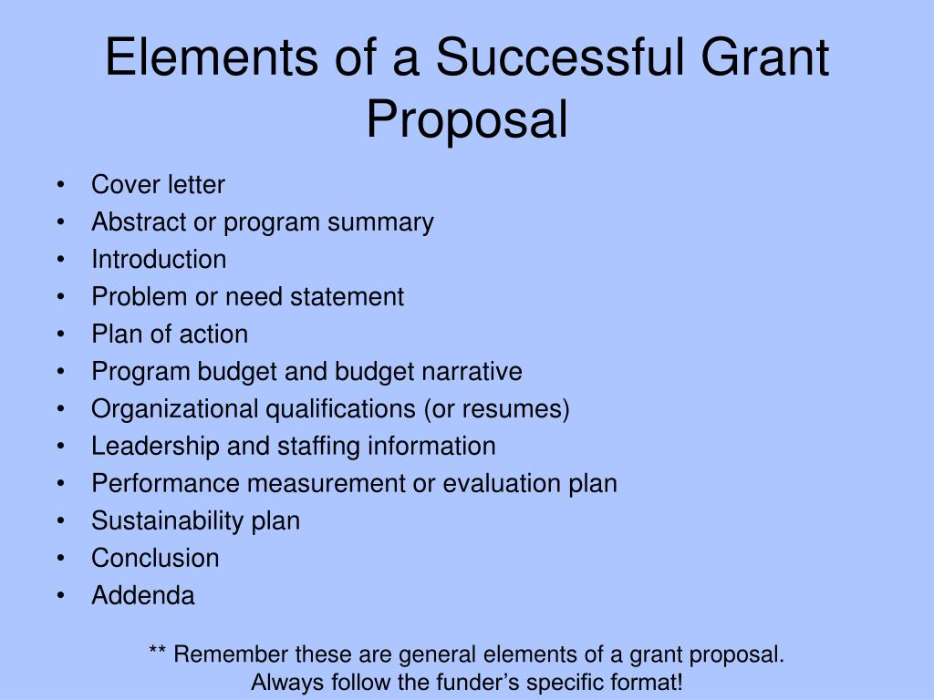 Elements of a Successful Grant Proposal