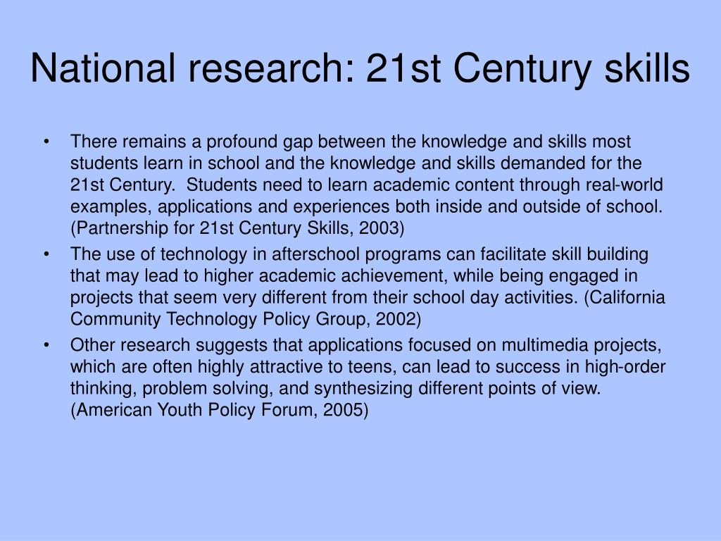 National research: 21st Century skills