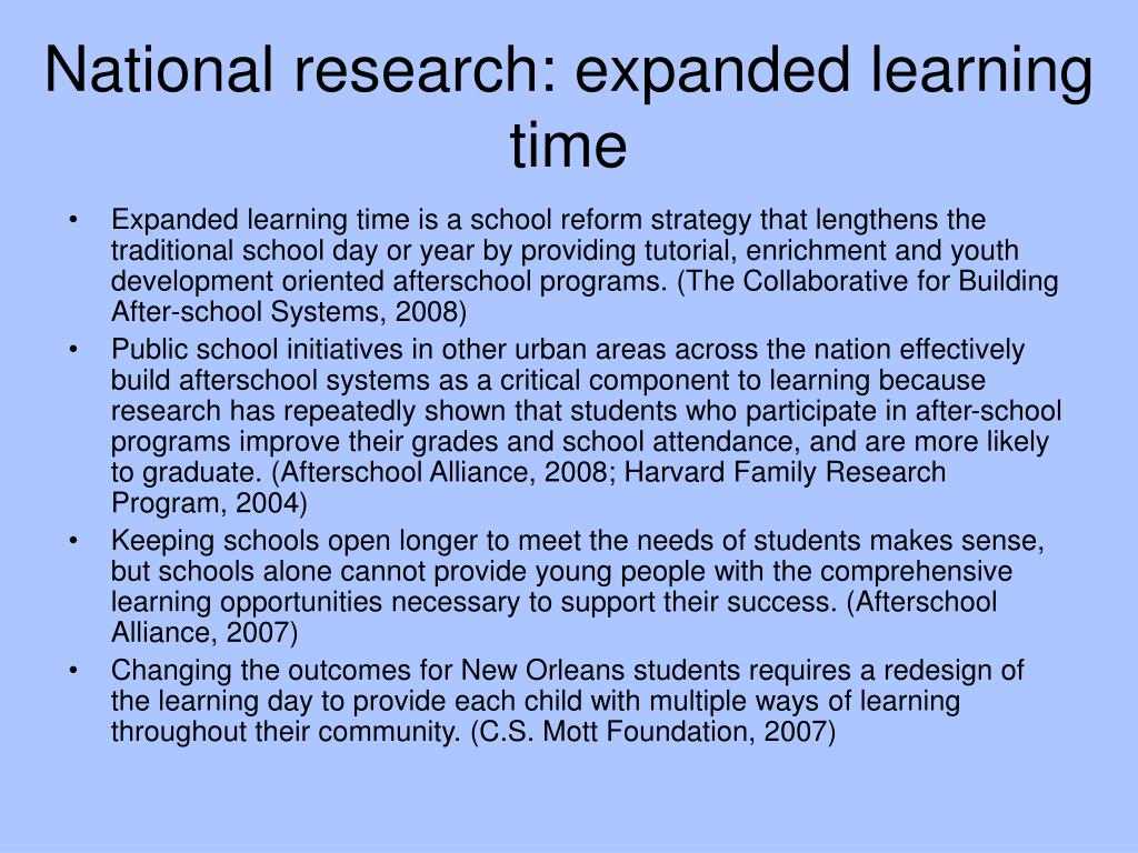 National research: expanded learning time