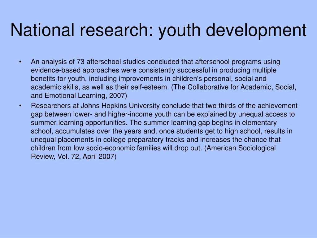 National research: youth development