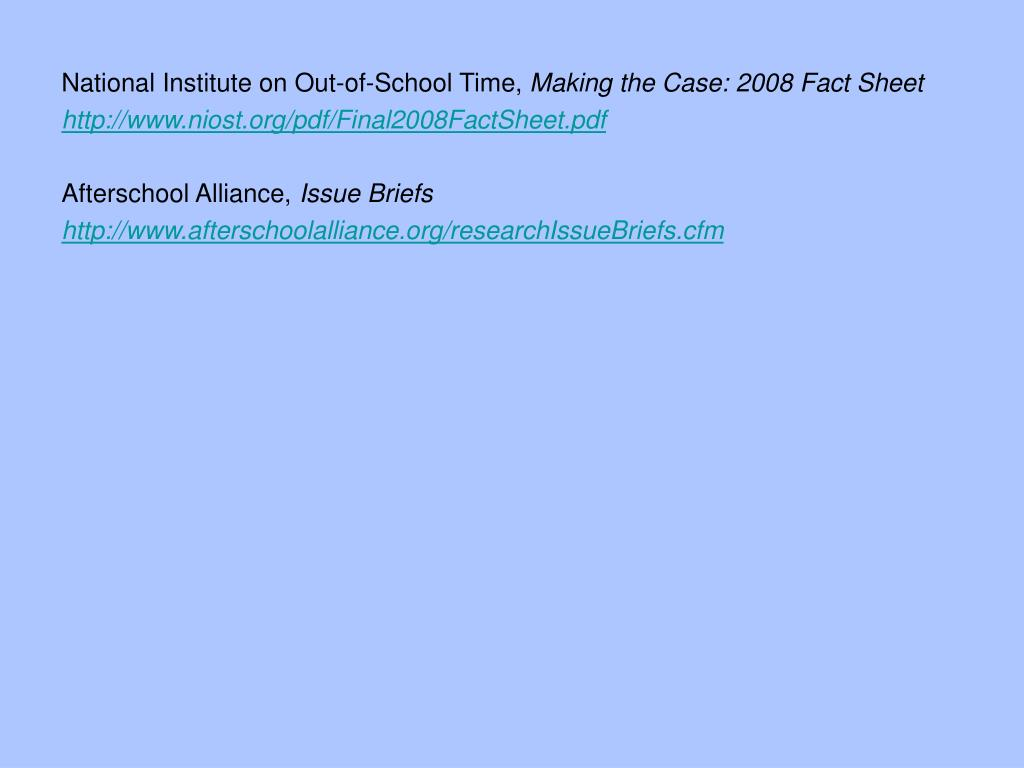 National Institute on Out-of-School Time,