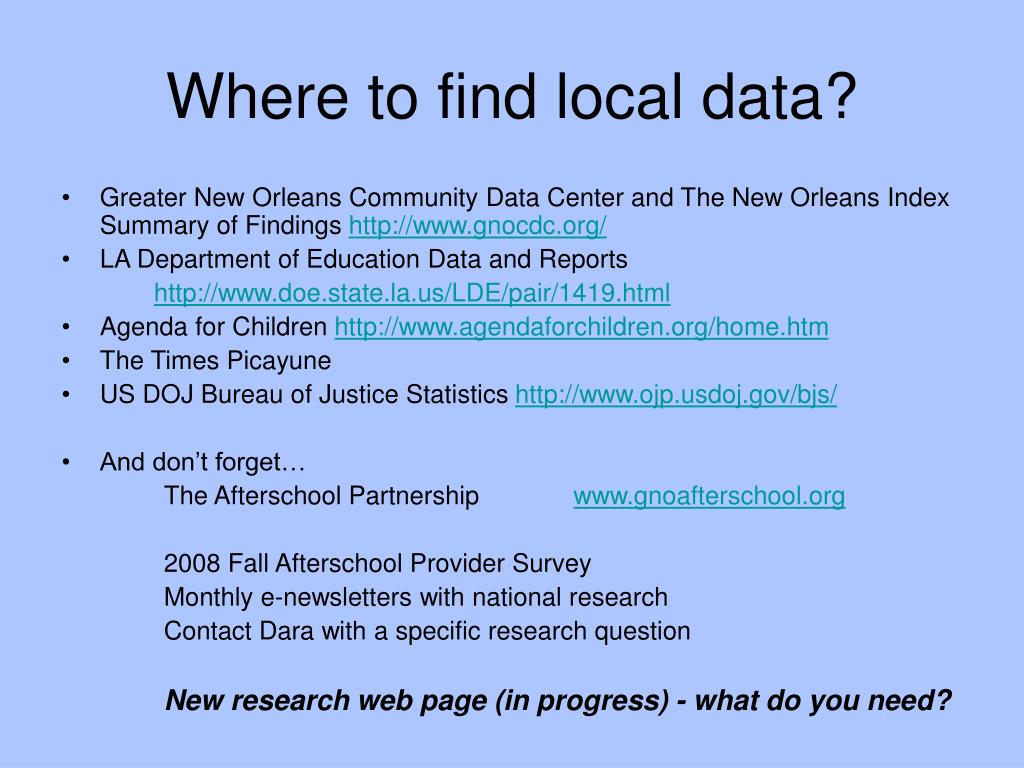 Where to find local data?