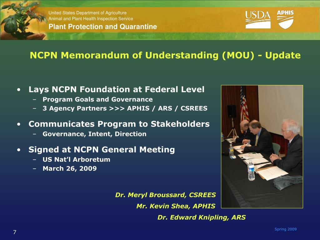 NCPN Memorandum of Understanding (MOU) - Update