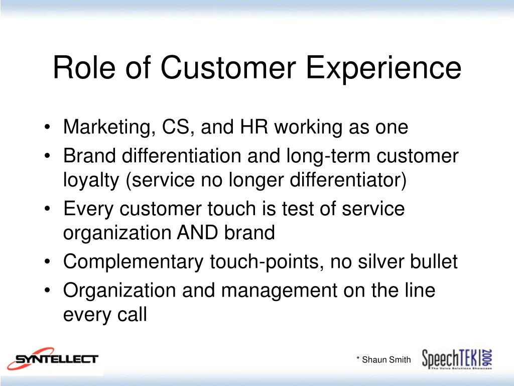 Role of Customer Experience