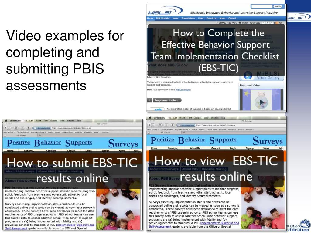 Video examples for completing and submitting PBIS assessments
