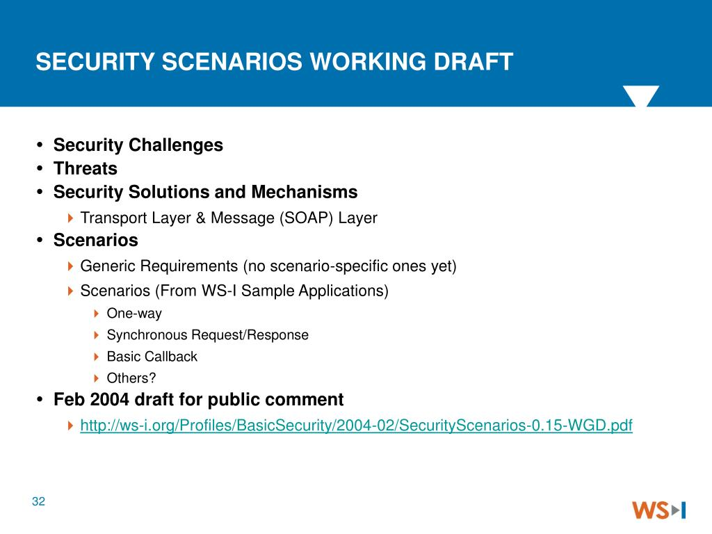 SECURITY SCENARIOS WORKING DRAFT