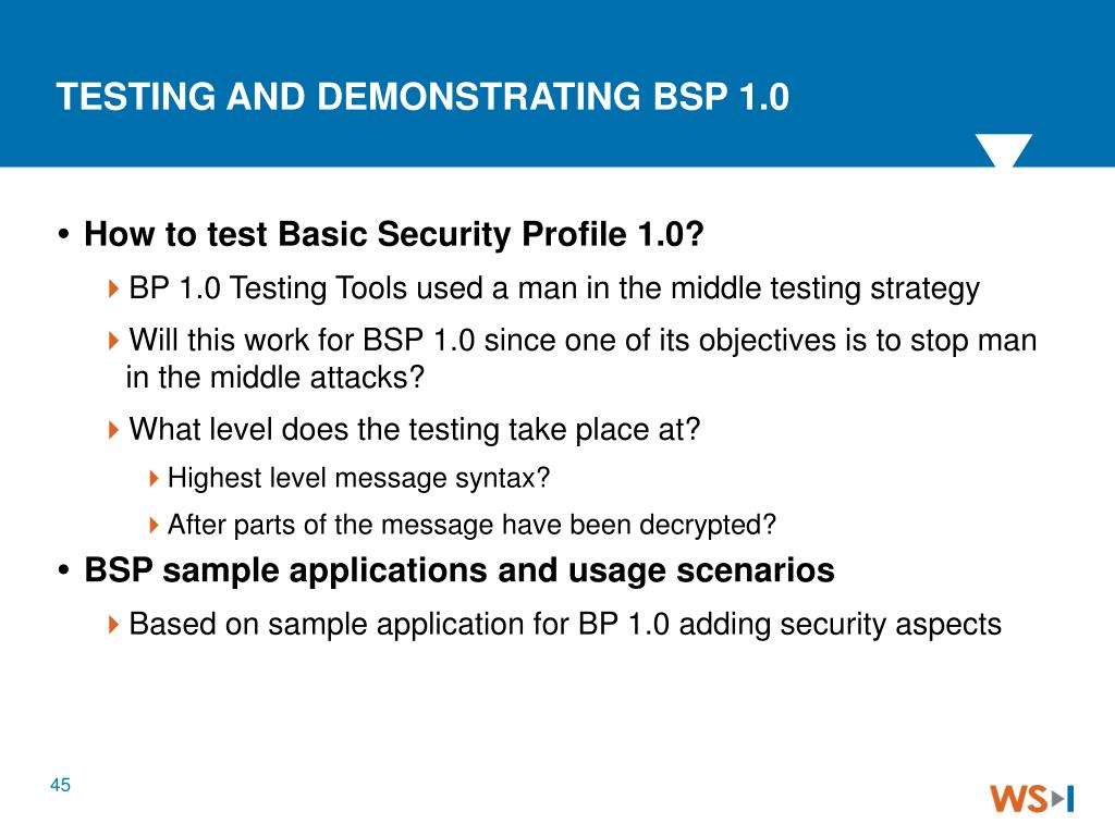 TESTING AND DEMONSTRATING BSP 1.0