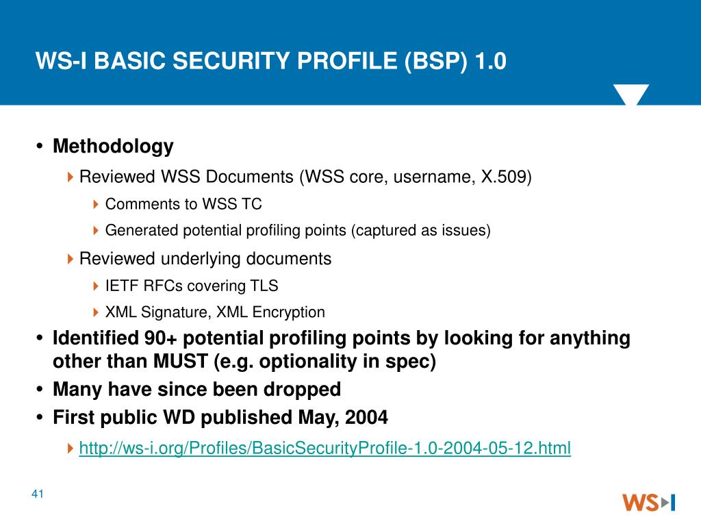 WS-I BASIC SECURITY PROFILE (BSP) 1.0