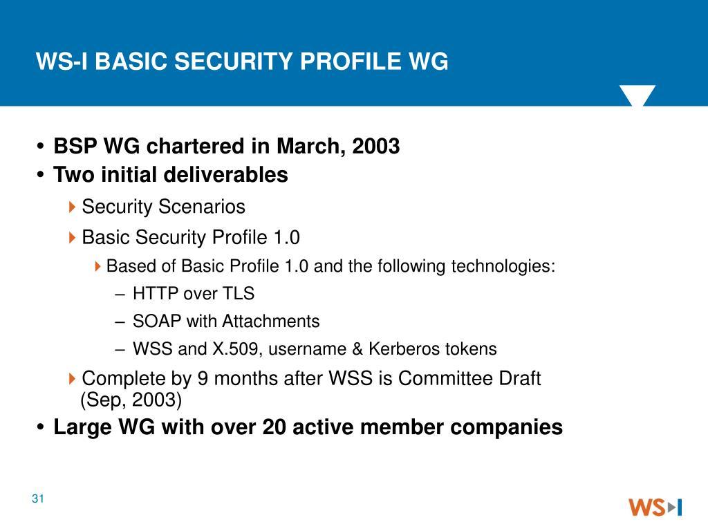WS-I BASIC SECURITY PROFILE WG