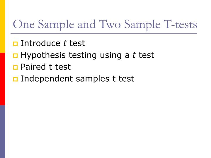 one sample and two sample t tests n.
