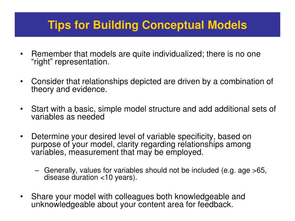 Tips for Building Conceptual Models