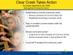 clear creek takes action thursday september 22 2005 management during the event