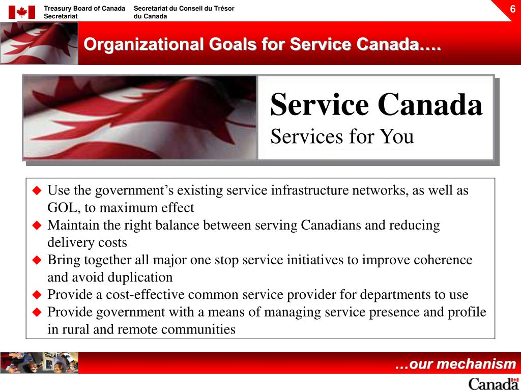 Organizational Goals for Service Canada….