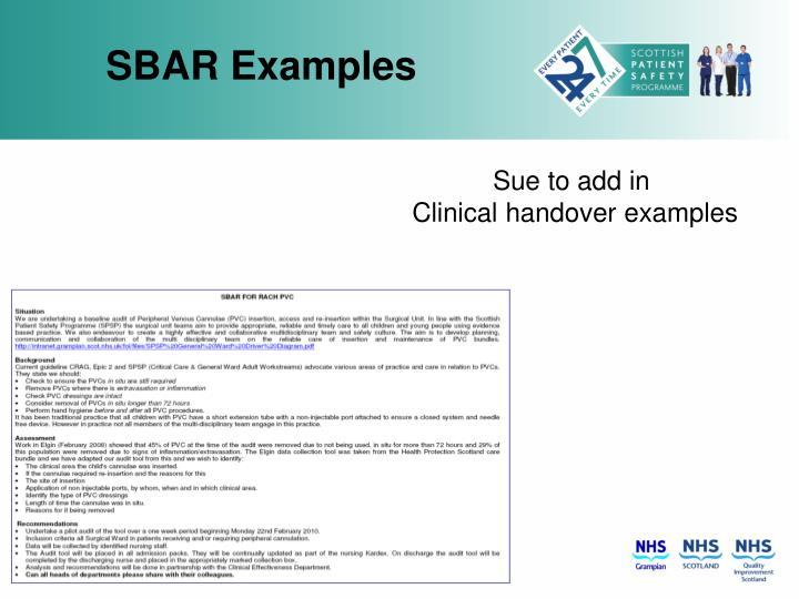 Sbar examples