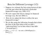 beta for different leverage 1 2