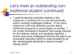 let s meet an outstanding non traditional student continued