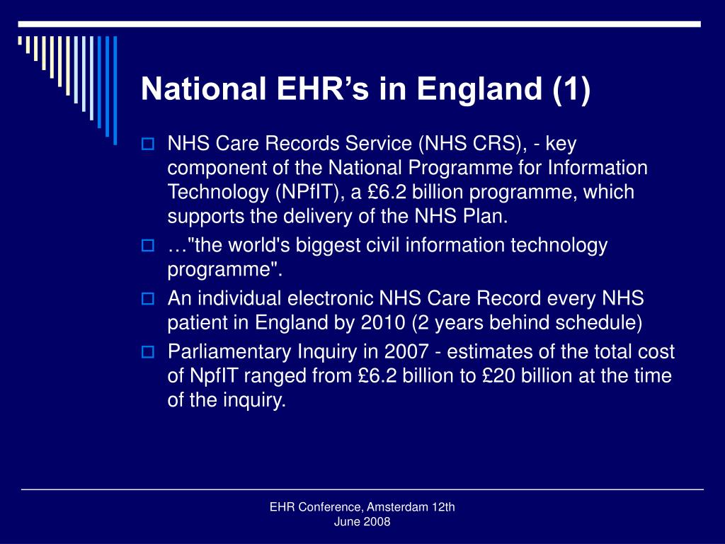 National EHR's in England (1)