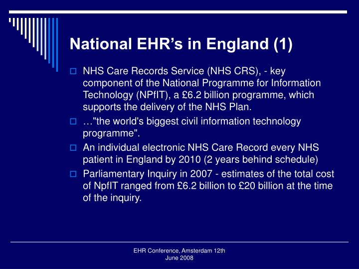 National ehr s in england 1
