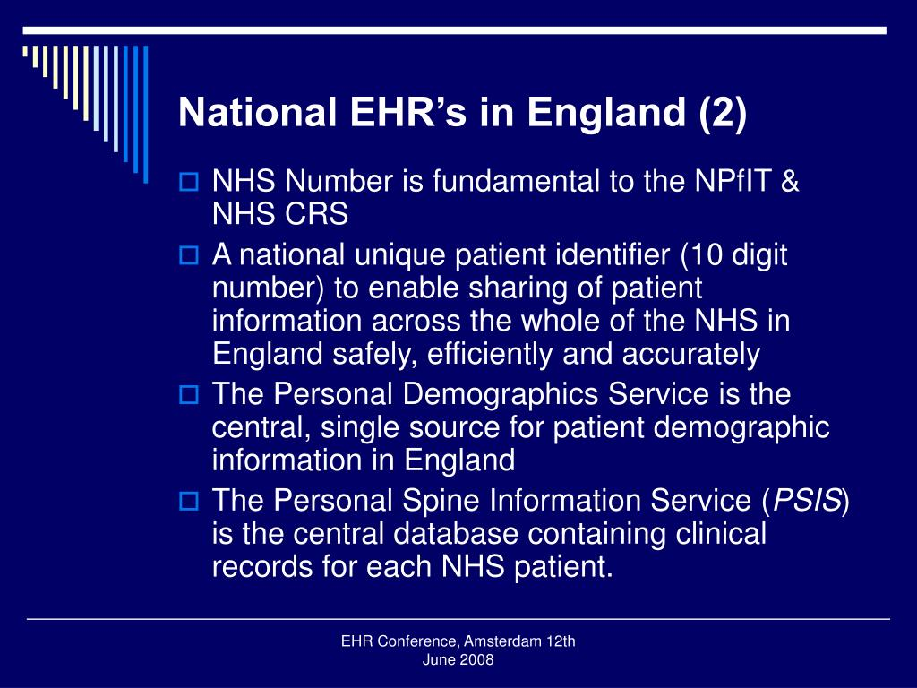 National EHR's in England (2)
