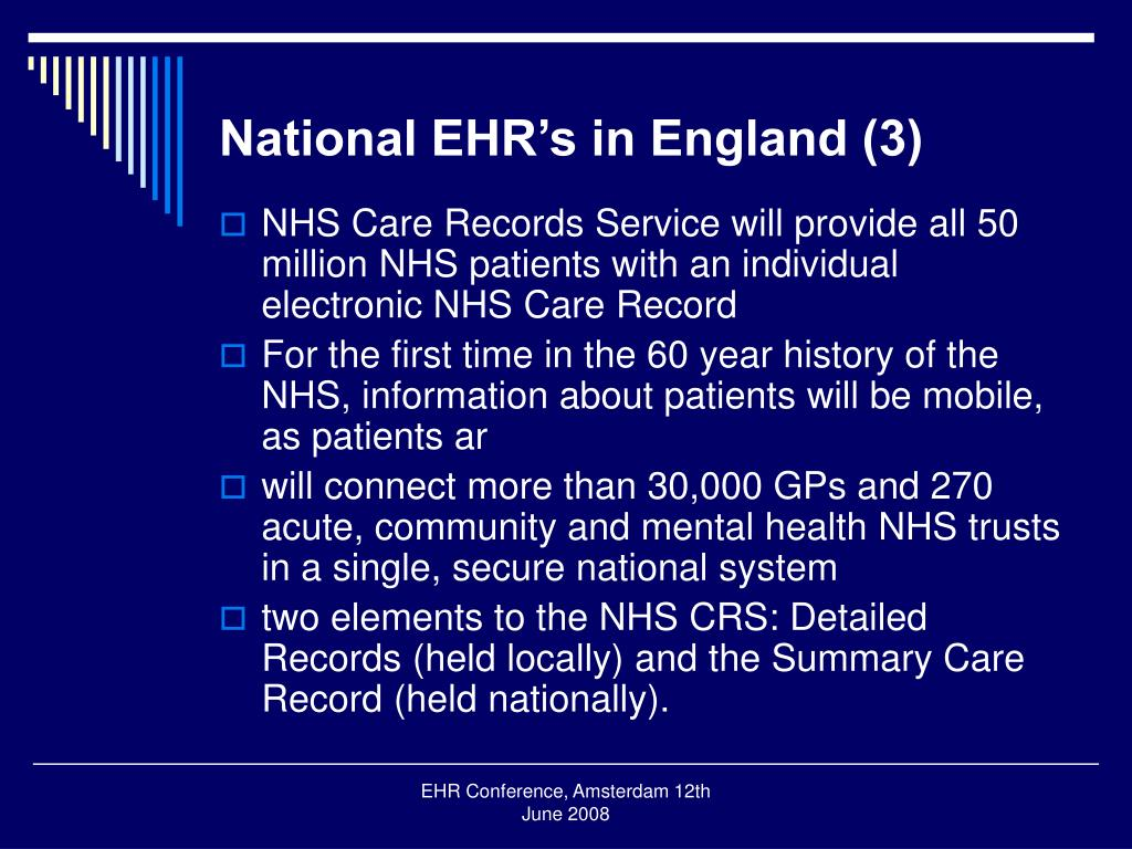 National EHR's in England (3)