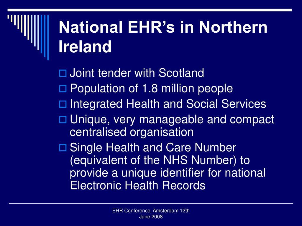 National EHR's in Northern Ireland