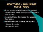monitoreo y analisis de resultados