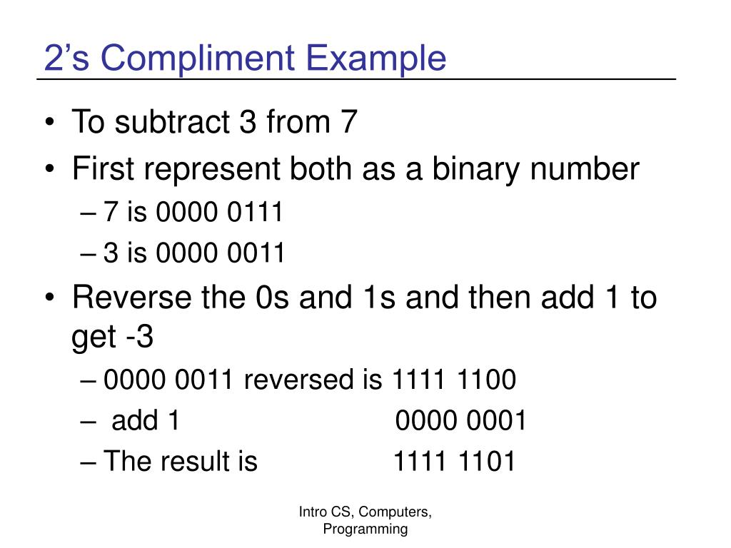 2's Compliment Example