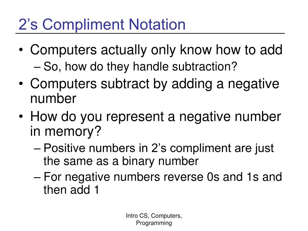 2's Compliment Notation