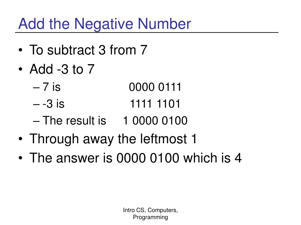 Add the Negative Number