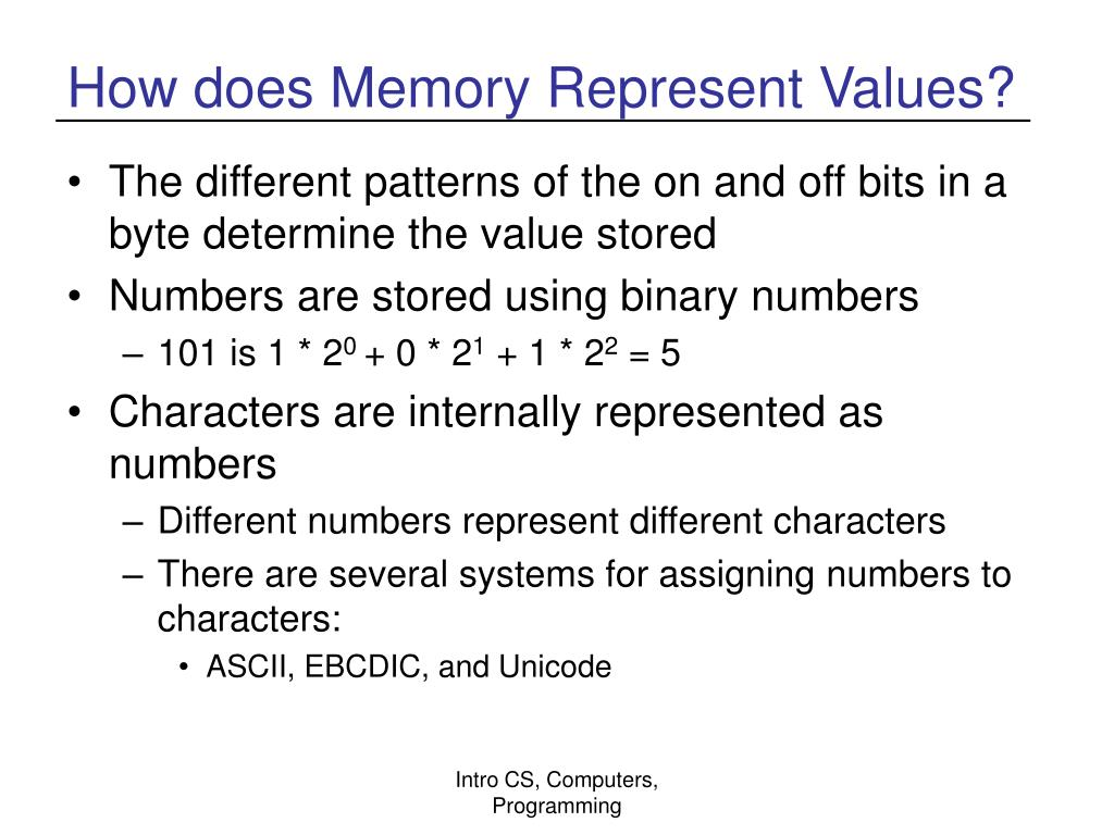 How does Memory Represent Values?