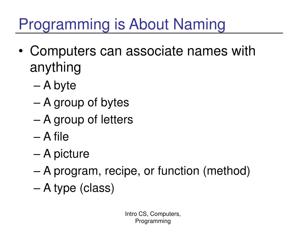 Programming is About Naming