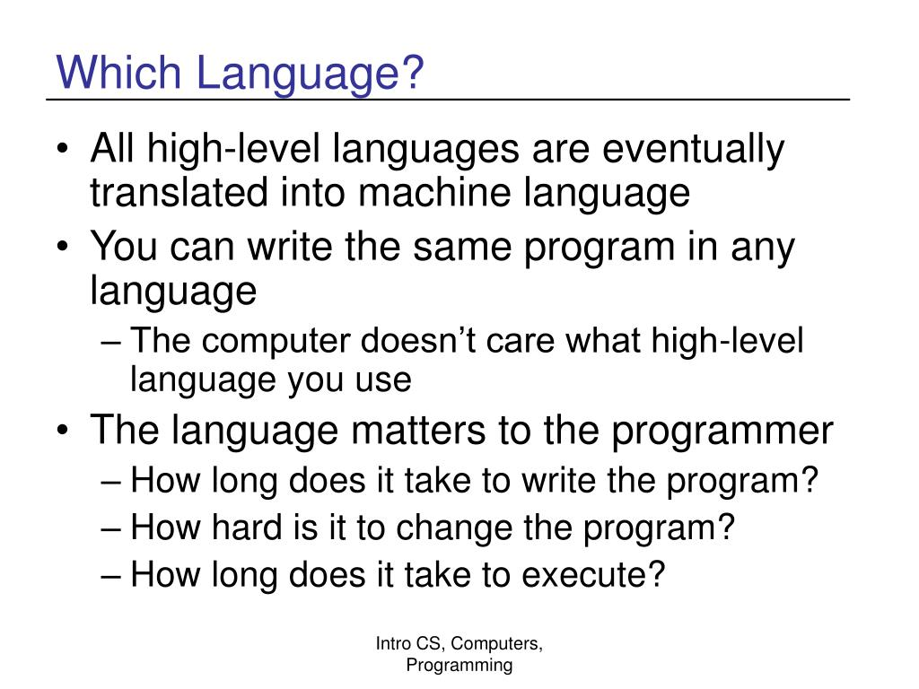 Which Language?